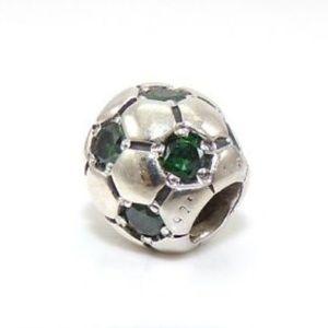Pandora Soccer Ball Charm w/ Green Gemstones